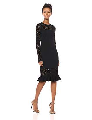 Milly Women's Knit Lace Pointelle Long Sleeve Mermaid Hem Dress