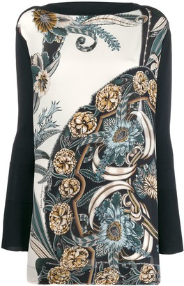 Salvatore Ferragamo printed insert long sleeve top