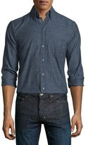Eton Herringbone Long-Sleeve Sport Shirt, Black