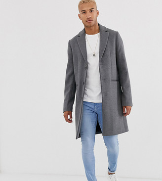 Asos DESIGN Tall wool mix overcoat in light gray