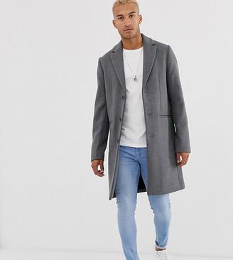 ASOS DESIGN Tall wool mix overcoat in light gray