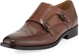 Kenneth Cole Lyfe of Leisure Leather Double-Monk Shoe with Silver Technology, Brown
