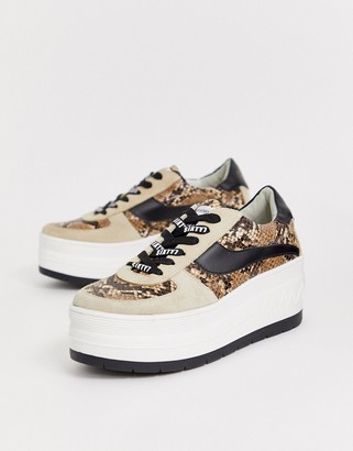 Sixty Seven Sixtyseven chunky flatform sneakers in snake-Beige