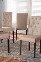 Wholesale Interiors Gardner Modern and Contemporary Dark Brown Finished Beige Fabric Upholstered Dining Chair - Set of 4