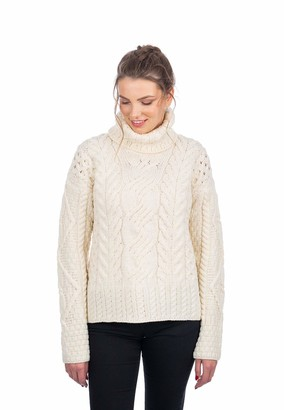 SAOL 100% Merino Wool Ladies Chunky Turtleneck Sweater