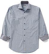 Thomas Dean Long-Sleeve Dobby Check Woven Shirt