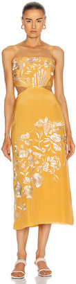 Johanna Ortiz Moon Whispers Embroidered Midi Dress in Yellow Ochre | FWRD