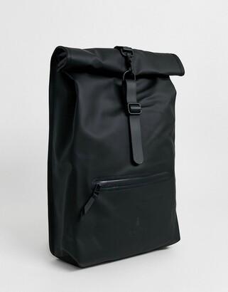 Rains 1316 waterproof Roll Top backpack in black