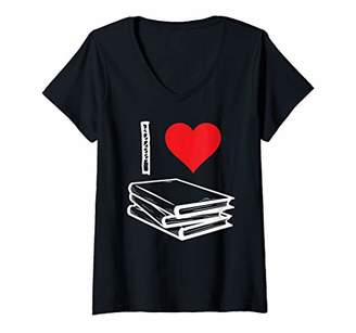 LIBRARY Womens Book I Love Reading Literature Bookworm Books Gift V-Neck T-Shirt