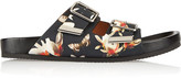 Givenchy Leather Sandals In Magnolia Print - Black