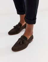 Asos Design DESIGN tassel loafers in brown suede with natural sole