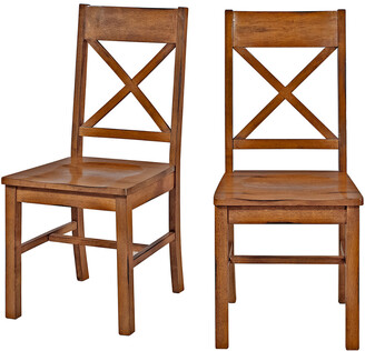 Set Of 2 Hewson Antique Brown Wood Dining Kitchen Chairs