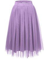 JJ Perfection Women's Tulle Layered A-Line Long Midi Party Skirt IVORY 2XL