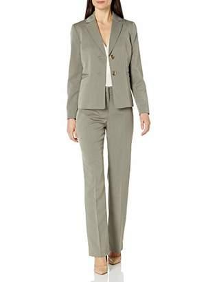 Le Suit Women's 2 Button Notch Collar Tonal Stripe Pant Suit