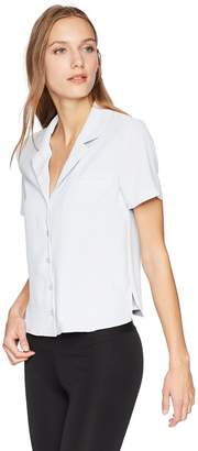 J.o.a. Women's Button Down Collared Short Sleeve Shirt