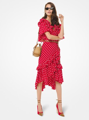 Michael Kors Collection Polka Dot Silk Crepe De Chine Asymmetric Ruffle Dress