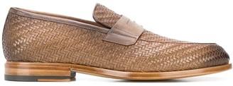 Santoni Low Heel Woven Loafers