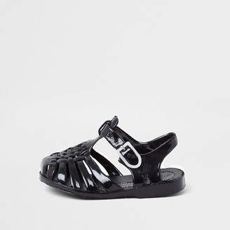River Island Mini kids black caged jelly sandals