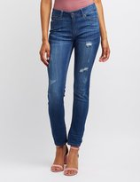Charlotte Russe Distressed Low-Rise Skinny Jeans