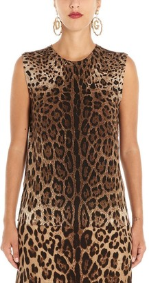 Dolce & Gabbana Leopard Printed Sleeveless Top