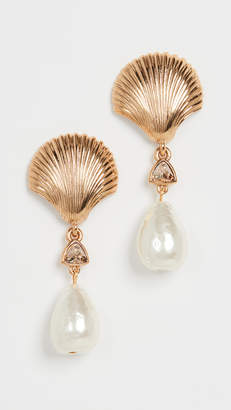 Oscar de la Renta Scallop Shell & Imitation Pearl Earrings