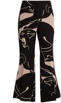 Valentino Panther-print cropped silk trousers