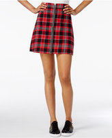 Freestyle Juniors' Plaid Zip-Front Mini Skirt