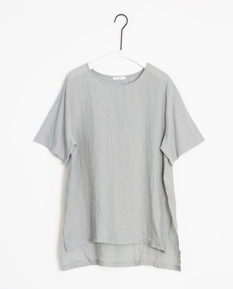 Beaumont Organic Hayley May Organic Cotton Linen Tunic In Dove - Dove / Large