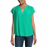 Liz Claiborne Short Sleeve Y Neck Woven Blouse-Talls