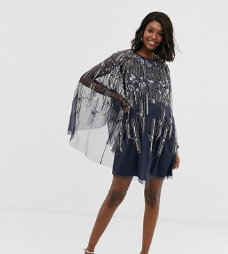 ASOS DESIGN Maternity cape mini dress in linear and floral pearl and sequin