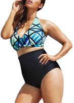 Ninimour Womens Diva Beach Glass Plus Size High Waist Bikini Set 2XL