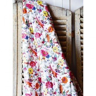 Powell-Craft Powell Craft - White Peacock Print Indian Cotton Bed Quilt - White/Pink/Orange