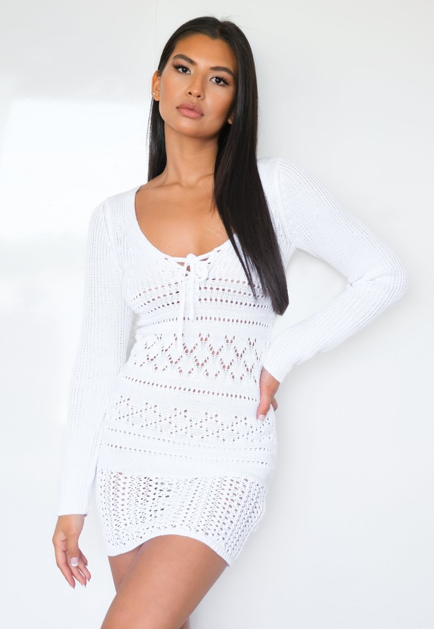 Missguided Tall White Crochet Lace Up Mini Dress