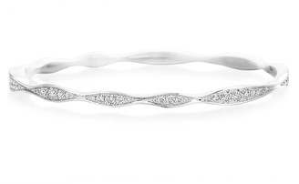 Maria Canale 18k White Gold Half Diamond Wave Bangle