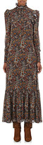 Saint Laurent Women's Crepe Long-Sleeve Maxi Dress-BROWN, BLUE, NO COLOR