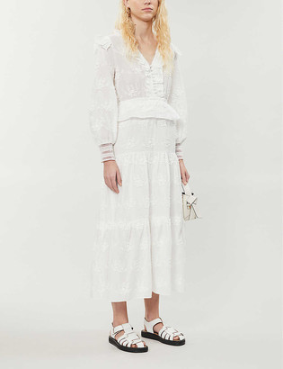 Maje Roxana cotton broderie midi dress
