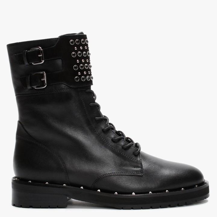 Daniel Papalo Black Leather Embellished Ankle Boots