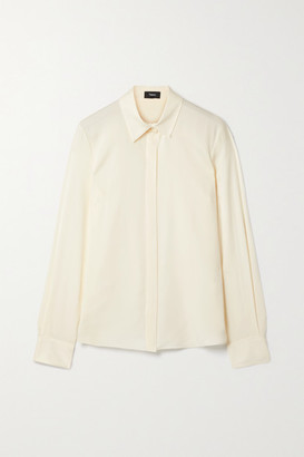 Theory Silk-blend Shirt - Ivory