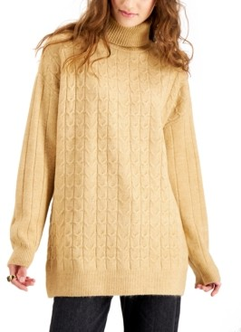 Hooked Up by IOT Juniors' Cable-Knit Turtleneck Tunic Sweater