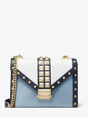 Michael Kors Whitney Large Studded Tri-Color Leather Convertible Shoulder Bag