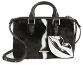KENDALL + KYLIE Claire Faux Fur & Leather Satchel - Black