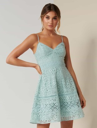 Forever New Selma Deep V Lace Prom Dress - Mint - 10