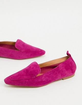 ASOS DESIGN Miley suede loafers in pink