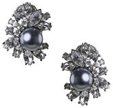 Kenneth Jay Lane Women's Silver Plated Round Grey Pearls Center White Crystals Button Stud Earrings