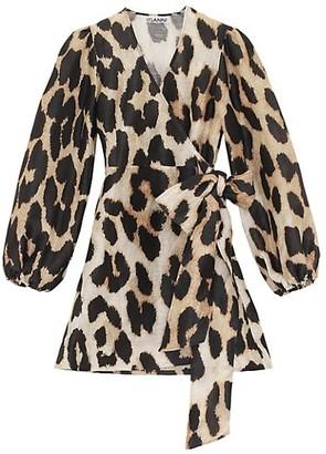 Ganni Leopard Silk Linen Midi Dress