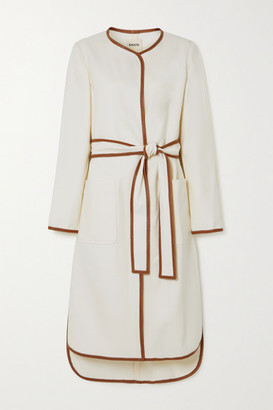 KHAITE Iman Belted Leather-trimmed Twill Coat - Ivory