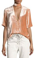 A.L.C. Blaise Velvet Choker V-Neck Top, Pink