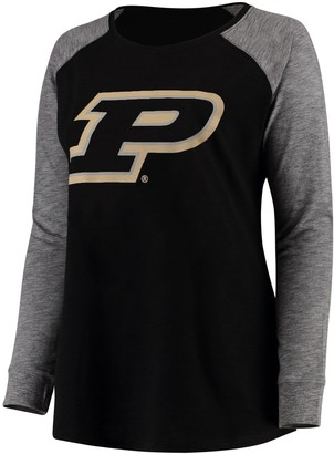 Unbranded Women's Black/Charcoal Purdue Boilermakers Plus Size Preppy Elbow Patch Slub Long Sleeve T-Shirt
