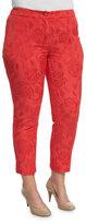 Marina Rinaldi Floral Jacquard Ankle-Cropped Pants, Plus Size