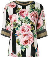 Dolce & Gabbana striped rose print top
